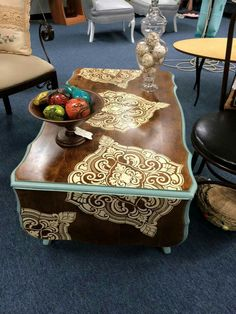 Pretty Painted Coffee Table At Junkspirations  Beautiful Color Palette And  Stenciled Designs