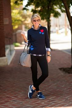 sweater (C.Wonder how cute is THIS ONE), shirt (J.Crew), pants (J.Crew just snagged THESE GUYS), bag (Michael Kors), sneaks (Nike), shades (Ray Ban), watch (Tag), bracelet (J.Crew), rings (Lagos, Anna Beck) Gang, gotta make it pretty quick today as I have a gazillion things to do. You must know this rig is ME to the umpteenth degree—little prep, little … Fashion For Women Over 40, 50 Fashion, Look Fashion, Plus Size Fashion, Spring Fashion, Autumn Fashion, Fashion Outfits, Womens Fashion, Fashion Trends