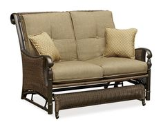 Barcelona Outdoor Wicker Cushioned Loveseat Glider