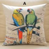 Parrot bird throw pillow Pastoral linen couch cushions 18 inch