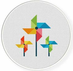 FREE for Jan 11th 2015 Only - Color Pinwheel Cross Stitch Chart