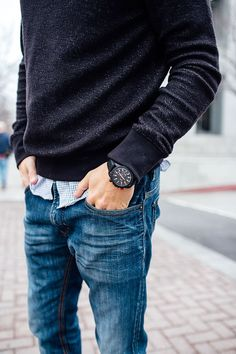 Black Cotton Cashmere Sweater, and Fitted Jeans, Mens Spring Summer Fashion.