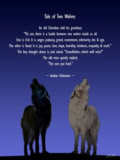 """Tale of Two Wolves"" by I.M. Spadecaller: An old Grandfather said to his grandson, who came to him with anger at a friend who had done him an injustice, 'Let me tell you a story.I too, at times, have felt a great hate for those that have t..."