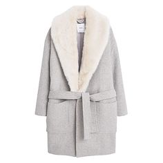 Buy Mango Wool Overcoat, Light Pastel Grey Online at johnlewis.com