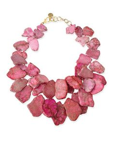 Chunky Light Pink Jasper Necklace by Nest at Neiman Marcus.