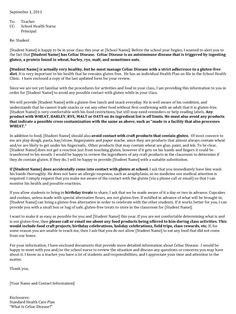 This post has an example of a letter to a teacher about keeping your kiddo gluten free at school (very friendly letter)