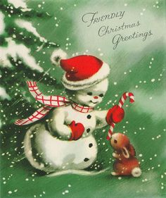 Vintage Holidays. Snowman sharing candy cane with a bunny.