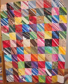 Beautiful string quilt and great for using up scraps. I love they are all going in the same direction.