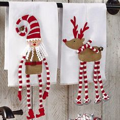 Mud Pie Christmas Sleigh Mates Dangle Leg Towel – Santa Or Reindeer 4404177 Christmas Makes, Christmas Art, Christmas Projects, Christmas Holidays, Christmas Ornaments, Christmas Christmas, Christmas Towels, Christmas Sewing, Christmas Knitting