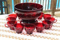Vintage Anchor Hocking Royal Ruby Red Punch Bowl, Base & 12 Cup Depression Set