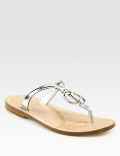 Dior metallic thong sandal