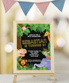 Animals in Zoo Birthday Party Invitation Design. Your Baby Boy or Girl went wild with this Safari themed invite. Invitation Design, Invite, Zoo Birthday, Safari Theme, Baby Boy Or Girl, Birthday Party Invitations, Christening, Creative Art, Signage
