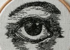 Hand-stitched Eye Artworks by Sam P. Gibson Blackwork Embroidery, Vintage Embroidery, Embroidery Art, Cross Stitch Embroidery, Embroidery Patterns, Cross Stitch Patterns, Thread Art, Thread Painting, Cross Stitch Tattoo
