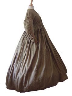 "Brown Gingham: ""Something, perhaps for Sophronia's mother before the Finishing School Books"" Maternity Dress. c. 1850s. Silk. Brown and white gingham"