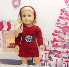 Red Knit Dress With Headband and Belt for 18 by MegOrisDolls, $28.50