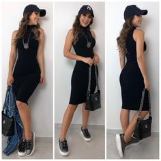 Classy knitted dress free ship only😍 Classy Outfits, Stylish Outfits, Outfit Vestido Negro, Girl Fashion, Fashion Dresses, Women's Knee Length Dresses, Black Bodycon Dress, Ladies Of London, Hippie Outfits
