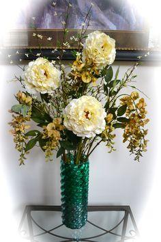 Winter Love Silk Floral Arrangement Peony by ChicagoSilkFlorist, $75.00