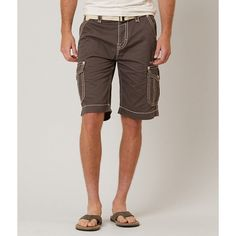 Rock Revival Classic Cargo Short ($100) ❤ liked on Polyvore featuring men's fashion, men's clothing, men's shorts, brown, mens short shorts, short mens clothing, mens embroidered shorts, slim fit mens clothing and mens clothing