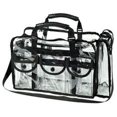 Perfect set bag. Zippered side compartment holds a thin box of full size tissues. $45.00 This is perfect for carrying hair & makeup essentials in the wings or backstage for touch-ups or catastrophes.