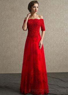 Glamorous A-Line Off the Shoulder Lace Beading Evening Dress Elegant Evening Dresses- ericdress.com 10972102