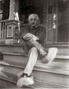Albert Einstein in Fuzzy Slippers, circa 1950 showing that one of the greatest minds in history also had a sense of humor
