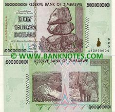 Zimbabwe Fifty Trillion Dollars 2008 Obverse Chiremba Balancing Rocks In Epworth Near Harare