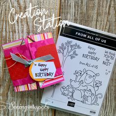 With a few folds you can make this fun birthday card that will put a smile on anybody's face. This card features the From All Of Us Stamp Set by Stampin' Up! Stamp with Me. #seeinginkspots #fromallofus #stampinup #fancyfolds #diycards #papercrafting #papercrafts #diybirthdaycards #handstamped #handmade