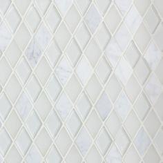Floor and Decor Dover Carrara Diamond Glass Mosaic - 12 x 13 - 100086123 Zen Bathroom, Master Bathroom, Bathroom Ideas, Bathroom Gallery, Bathroom Inspiration, Kitchen Gallery, Hall Bathroom, Bathroom Mirrors, Wall Mirrors