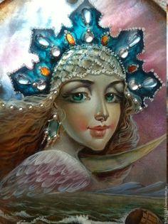 Купить На море-океане... - морская волна, лаковая миниатюра, живопись маслом, роспись по перламутру