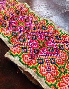 Vintage Hmong fabric Tribal hemp Cross Stitch Hemp Hilltribe ethnic textile…