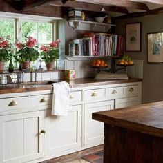 Cozy Collection of Cookbooks displayed on Open Painted Shelves, Red Geraniums in Terracotta Pots on Terracotta Ledge, Vintage Scale w/ Citrus