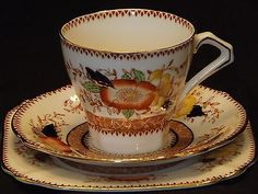 Art Deco Bell Fine Bone China Tea Trio Set Imari Pattern 3311 British England