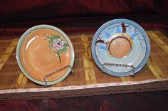 """2 Assorted Saucers Hand Painted Iridescent Made In Japan 5 1/2"""" #Asian #Unknown"""
