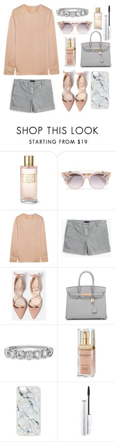"""Grey & Nude"" by lillyluvs ❤ liked on Polyvore featuring Estée Lauder, Jimmy Choo, Elizabeth and James, J.Crew, Hermès, Elizabeth Arden and Skinnydip"