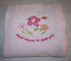 THANK HEAVEN FOR LITTLE GIRLS BABY BLANKET Pink FLOWERS BEE Soft Plush RN31526 #Unknown