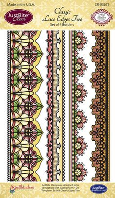 """JustRite Papercraft - Classic Lace Edges Two - 4"""" x 6"""" Clear Stamp Set designed by Amy Tedder"""