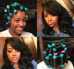 Big Hair is In, Get The Look with Perm Rods! Amber's long hair with per rods and then the results of brushing them out Pelo Natural, Natural Hair Tips, Natural Hair Styles, Roller Set Natural Hair, Flat Ironed Natural Hair, Natural Hair Perm Rods, Texturizer On Natural Hair, Natural Curls, Love Hair