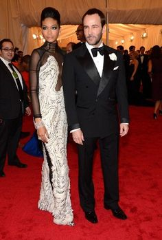 Met Gala 2012 Red Carpet: Best Dressed from Costume Institute Gala.  / Tom Ford and Chanel Iman. In awe of both and that dress is divine.