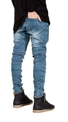 Mens Fashion Skinny Jeans Elastic Runway Slim Denim Biker Jeans Hiphop Pants at Banggood Biker Pants, Denim Pants, Elastic Jeans, Streetwear, Men's Fashion, Latest Fashion, Fashion Ideas, Stylish Jeans, Slim Fit Trousers