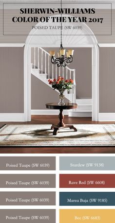 Sherwin-Williams-Farbe des Jahres Poised Taupe (SW Es clásico y € … – trendfarben 2019 wohnen Interior Paint Colors, Paint Colors For Home, Room Colors, House Colors, Taupe Color Schemes, Color Of The Year 2017, Colorful Interiors, Home Remodeling, New Homes