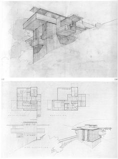 """Frank Lloyd Wright, project, All-Steel Houses for Los Angeles, 1938      Proposed for an area bounded by La Brea Ave., Slauson Ave. and Overhill Drive.   The vertically striated tower is a leftover from the original scheme, which was to have consisted of vertical steel channels 9"""" wide and up to 17' long, with light-weight concrete fill for insulation. These alternated with 9"""" x 17' windows, hinged at the top, opening outward."""