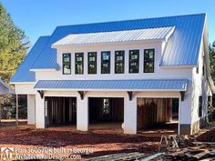 Plan 3 Bay Carriage House Plan with Shed Roof in Ba.- 3 Bay Carriage House Plan with Shed Roof in Back – thumb – 03 - Garage House, Carriage House Garage, Porch Over Garage, Pole Barn Garage, Garage Roof, Garage Exterior, House Bar, Small Garage, Modern Garage