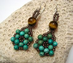 Turquoise and Seed Bead Earrings by GMJD on Etsy, $25.00