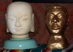 Marble Buddha Head and Gold Bust
