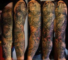spartan sleeve tattoo | Warrior full sleeve tattoo for men