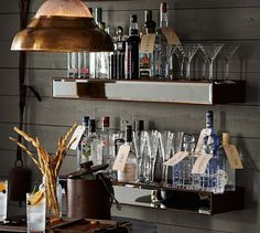 Rustic Wood Mirror Shelf | Pottery Barn - these would be awesome behind a bar