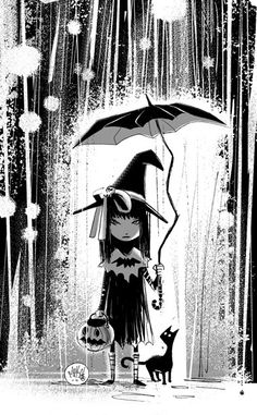 'Rainy Halloween' by Mike Maihack. http://cowshell.com/   It's me as a little girl!