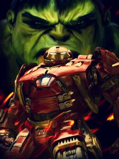 My digital oil painting for 'Avengers - Age of Ultron', it's inspired by the battle between The Hulk & Iron Man (Hulkbuster) Purchase poster here -&. Age of Ultron Fan Art - Digital Oil Painting Hulk Avengers, Hulk Marvel, Marvel Heroes, Marvel Comics Art, Marvel Movies, Iron Man Hulkbuster, Iron Man Armor, Age Of Ultron, Comic Character