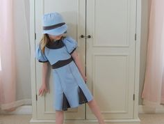 1940s style toddler dress and hat set in pale blue and gray jersey knit (sizes 12m, 18m, 2T, 3T, 4T, 5)