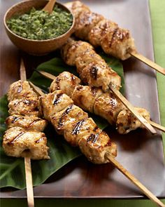 Chicken Kababs with Cilantro-Lime Chutney